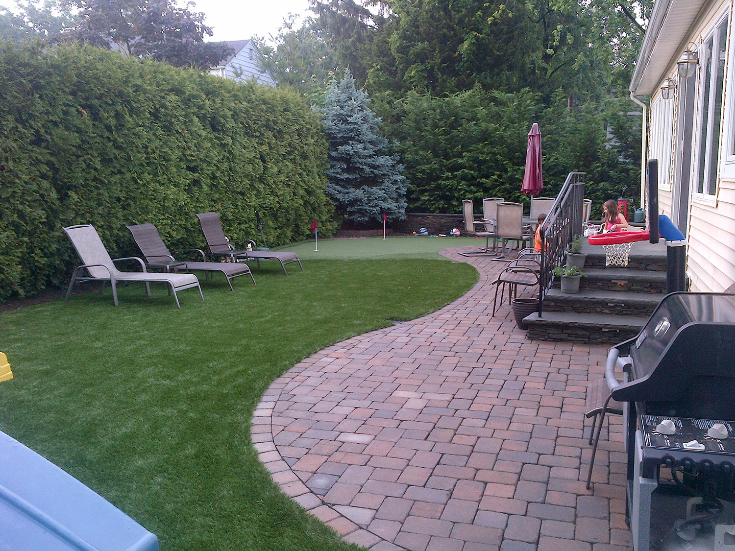 Artificial turf, landscape design, evergreen screening